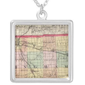 Map of Ingham County, Michigan Square Pendant Necklace