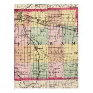 Map of Ingham County, Michigan Postcard