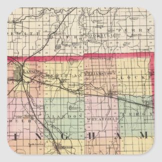 Map of Ingham County, Michigan Square Sticker