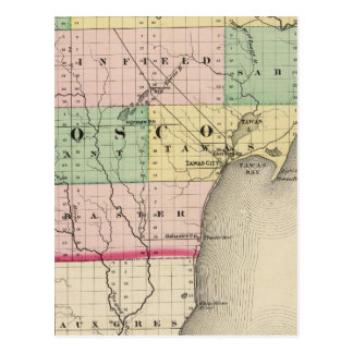 Map of Iosco County, Michigan Postcard
