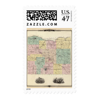 Map of Iowa County, State of Wisconsin Postage