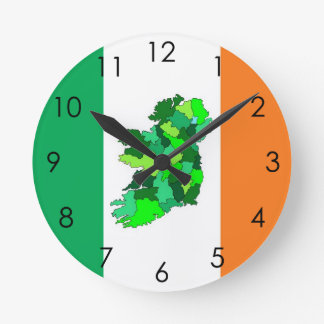 Map of Ireland and Irish Flag Wall Clock