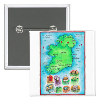 Map of Ireland 2 Inch Square Button