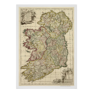 Map of Ireland by Frederik de Wit 1710 Print