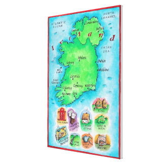 Map of Ireland Canvas Print