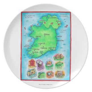Map of Ireland Dinner Plate