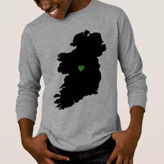 Map of Ireland Irish Pride Green Heart T-Shirt