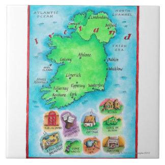 Map of Ireland Large Square Tile