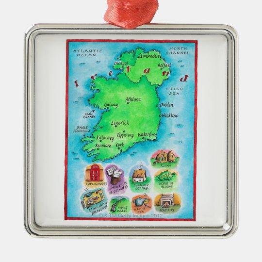 Map of Ireland Metal Ornament