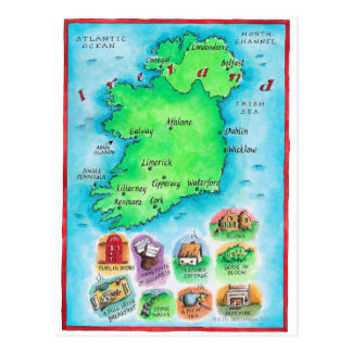Map of Ireland Postcard