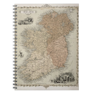 Map of Ireland, published c.1850 (hand-coloured en Spiral Notebook