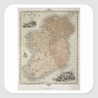 Map of Ireland, published c.1850 (hand-coloured en Square Sticker