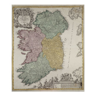 Map of Ireland showing the Provinces of Ulster Poster