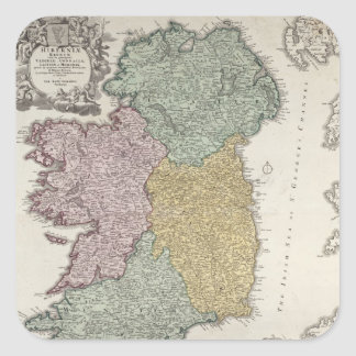 Map of Ireland showing the Provinces of Ulster Square Stickers