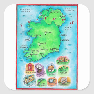 Map of Ireland Square Sticker