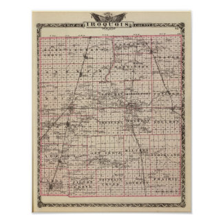 Map of Iroquois County Poster