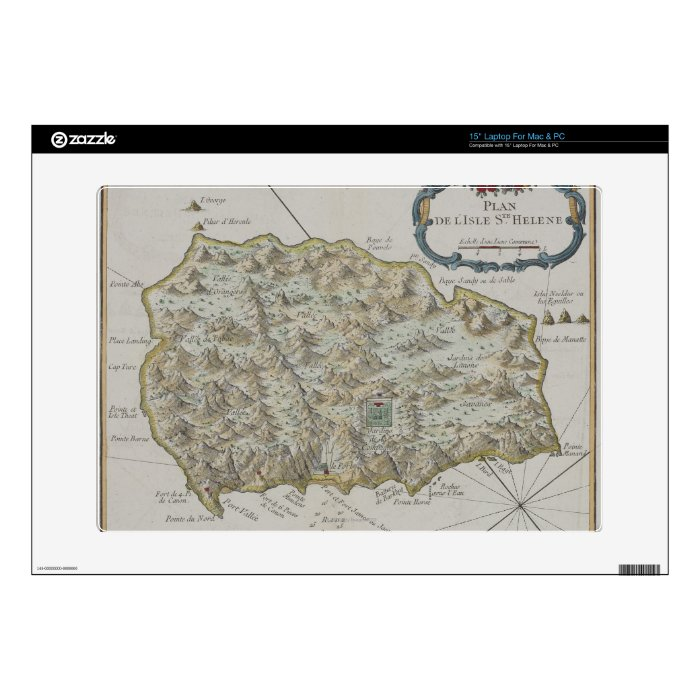 Map of Island of St. Helena Decal For Laptop
