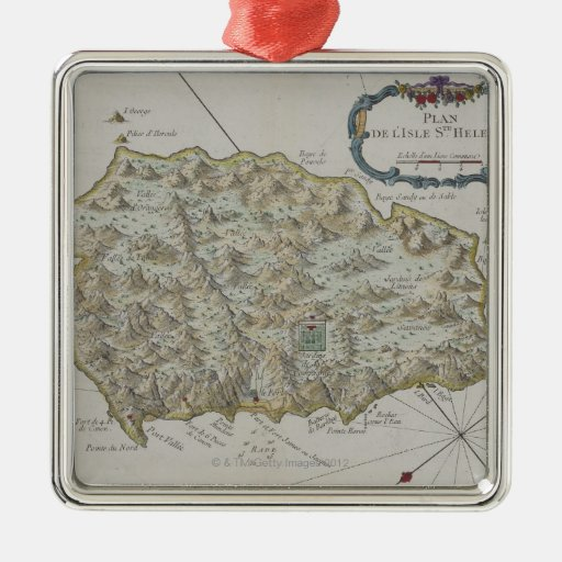 Map of Island of St. Helena Metal Ornament