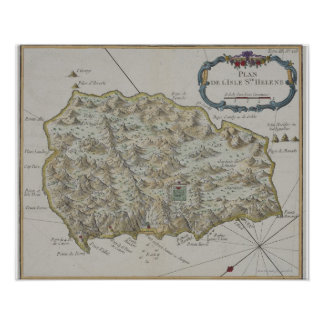 Map of Island of St. Helena Poster