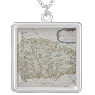 Map of Island of St. Helena Square Pendant Necklace