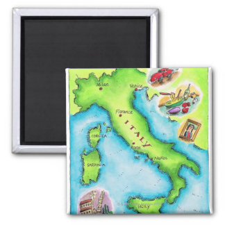 Map of Italy 2 2 Inch Square Magnet