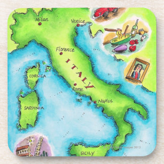 Map of Italy 2 Coasters