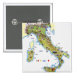 Map of Italy 2 Inch Square Button