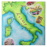 Map of Italy 2 Large Square Tile