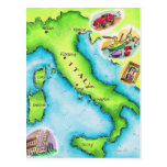 Map of Italy 2 Postcard
