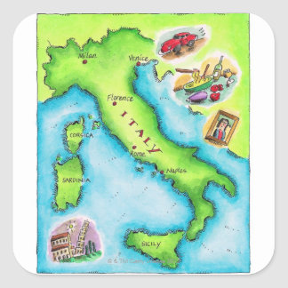 Map of Italy 2 Square Sticker