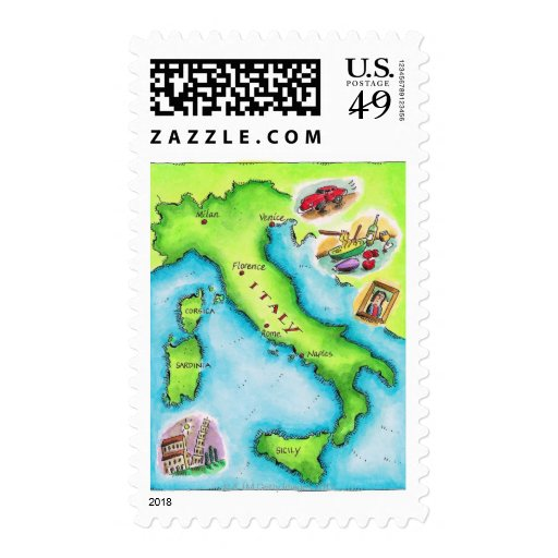 Map of Italy 2 Stamp