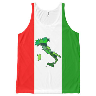 Map of Italy and Italian Flag All-Over Print Tank Top
