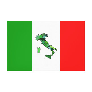Map of Italy and Italian Flag Stretched Canvas Prints