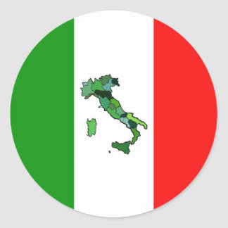 Map of Italy and Italian Flag Classic Round Sticker