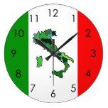Map of Italy and Italian Flag Clock