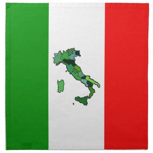 Map of Italy and Italian Flag Cloth Napkin