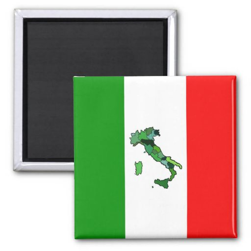 Map of Italy and Italian Flag Fridge Magnets
