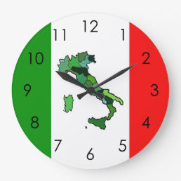 Map of Italy and Italian Flag Large Clock