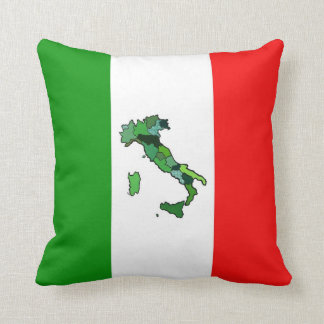 Map of Italy and Italian Flag Throw Pillow