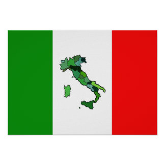 Map of Italy and Italian Flag Poster