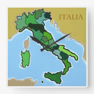 Map of Italy Square Wall Clocks