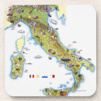 Map of Italy Beverage Coaster