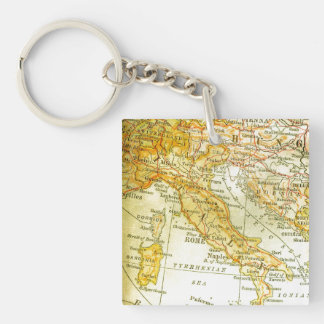 Map of Italy Double-Sided Square Acrylic Keychain