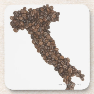 Map of Italy made of Coffee Beans Drink Coaster