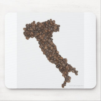 Map of Italy made of Coffee Beans Mouse Pad