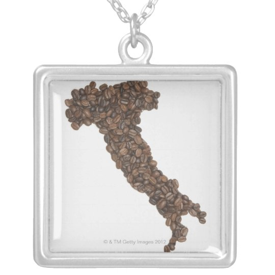Map of Italy made of Coffee Beans Silver Plated Necklace