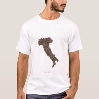 Map of Italy made of Coffee Beans T-Shirt