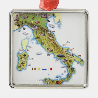 Map of Italy Metal Ornament