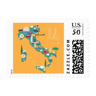 Map of Italy Postage