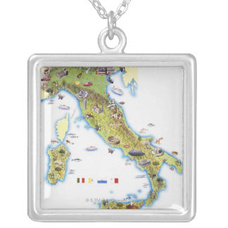 Map of Italy Square Pendant Necklace